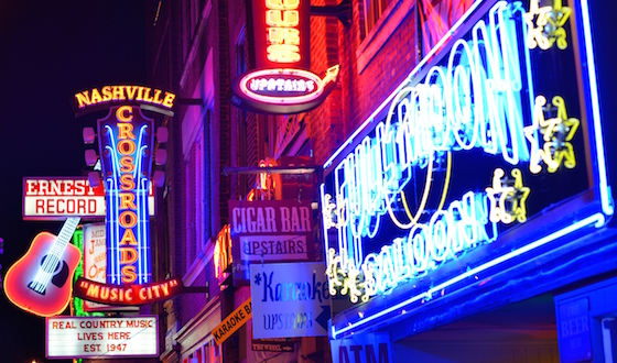 NASHVILLE - JUNE 16: Honky-tonks on Lower Broadway June 16, 2013 in Nashville, Tennessee. The distri